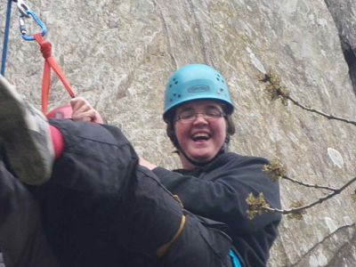 Richard on a climbing activity with the Outlook Trust for the visually impaired