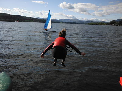 jumping into lake windermere on an Outlook Trust weekend for visually impaired children