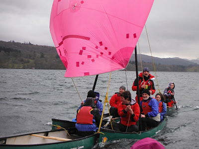 sailing canoes on visually impaired Outlook Trust weekend